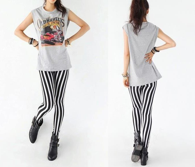 Vertical Stripe Zebra Leggings