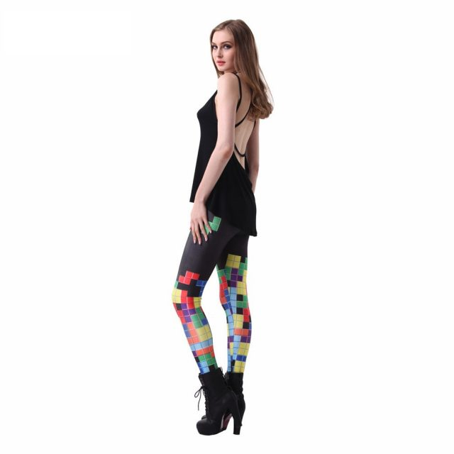 Plus size S-4XL Tetris Digital Printing Leggings For Women