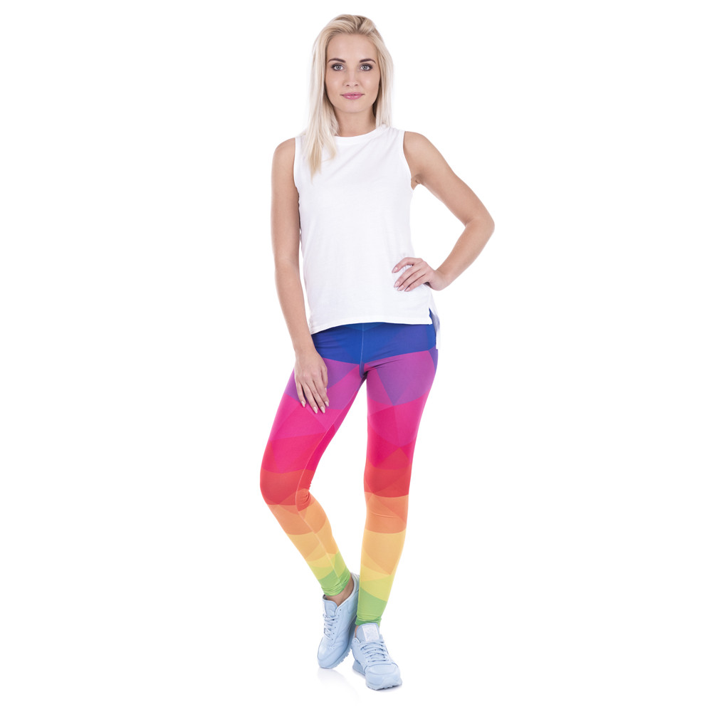 Rainbow Triangles Printed Women Spandex Leggings