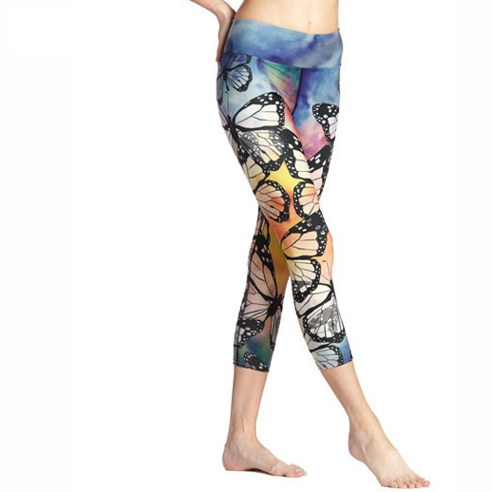 3D Butterfly Print Workout Push Up Plus Size Leggings