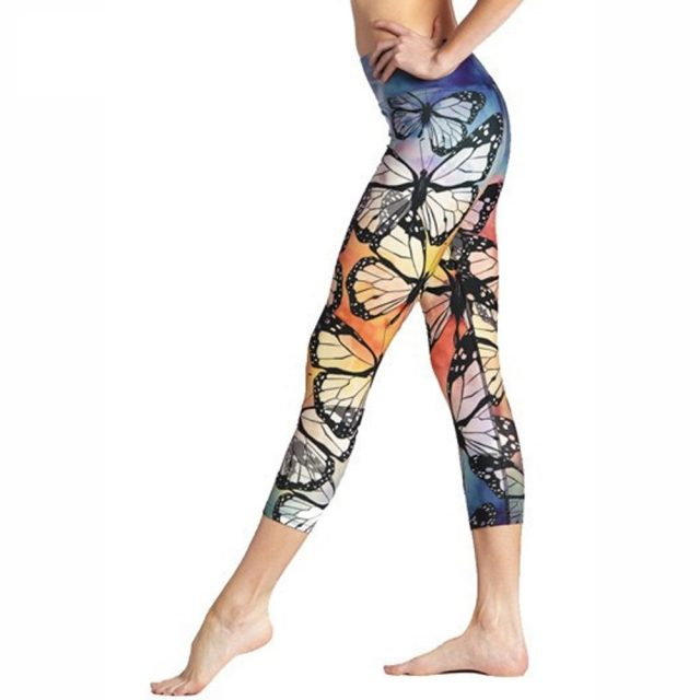 3D Butterfly Print Workout Push Up Leggings