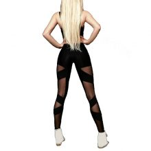 Sexy Black Cross Mesh Leggings