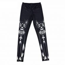 Black White Cat Digital Print Leggings