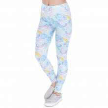 High Waist Unicorn Clouds Print Leggings