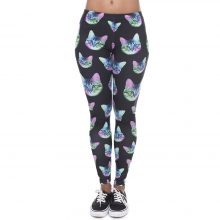 Neon Cat Black Printing Fitness Leggings